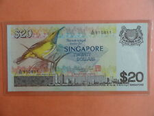 $20 Bird Singapore Dollar Note A/60 910811 HSS