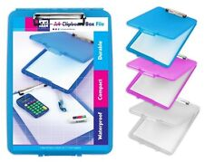 BLUE A4 BOX FILE CLIPBOARD PAPER STORAGE HOLDER TIDY SCHOOL COLLEGE OFFICE BOPX