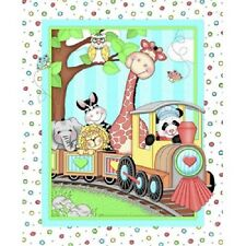 Bazoople - Train Cot Quilt Panel - Quilting Craft Panel - Cotton Fabic