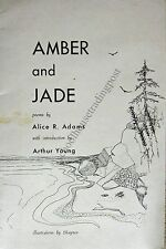 Amber And Jade Poems By Alice R Adams Of Alna Maine Signed Poetry Book