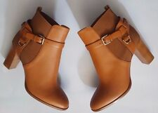 RALPH LAUREN COLLECTION TAN RL GOLD MEADOW LEATHER ANKLE BOOT EUR40B US9B ITALY