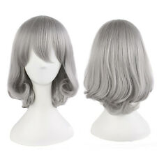 New Fashion Bob Gray Wig Short Curly Wavy Synthetic Hair Cosplay Party Women Wig