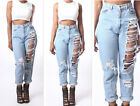 Fine Hot Women High Waist Destroyed Boyfriend Jeans Ripped Denim Hole Pants HGGU