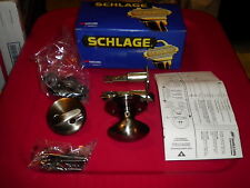 New n box Schlage inside handle set antique pewter locking oval egg door knob