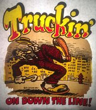 Vintage 1967 Truckin' On Down The Line Iron-On Transfer by R. Crumb RARE! Hippy