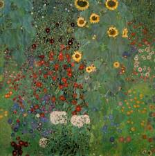 Gustav Klimt Farm Garden with Sunflowers Oil Painting Canvas Print