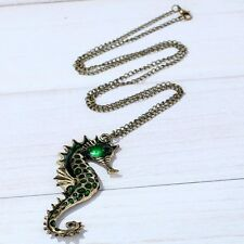 unique antique bronze little sea horse shape green crystal inaly chain necklace
