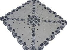 """Black Elegant Large Tablecloth Hand Embroidered 40"""" Net Tablecloth Linen Overlay"""