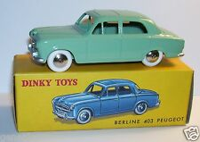 DINKY TOYS ATLAS PEUGEOT 403 VERTE version sans glace 1/43 REF 24B IN BOX