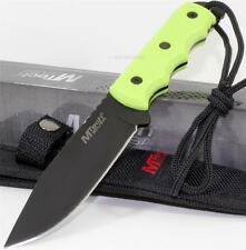 Mtech Neon Green Full Tang Finger Grooved Rescue Survival Hunting Knife + Sheath
