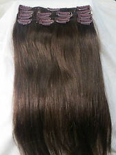 "New 15"" 100% Human Hair Clips In Extensions 7Pcs 75g Dark Brown #4"