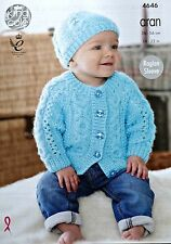 Baby KNITTING PATTERN Babies Long Sleeve Cable Cardigan & Hat Aran KingCole 4646