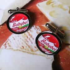 Unique! BABYBEL CUFFLINKS chrome CHEESE novelty GIFT label BOXED red