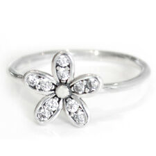 DAISY Ring Solid Sterling Silver Dazzling Pave Stacking Flower Band Size 7.5