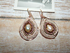 ANTHROPOLOGIE EARRING TEAR DROP FRESH WATER PEARL SEAD BEED COPPER NEW #619