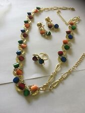gold necklace set with bracelet earrings/ring with multi colour stones/cz stones