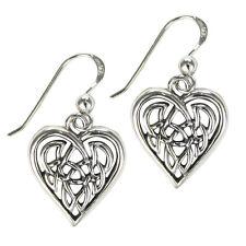 Sterling Silver Celtic Love Knot Heart Earrings - Irish Knotwork Romatic Jewelry