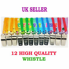 12 METAL REFEREE'S SPORTS STEEL WHISTLE FOOTBALL RUGBAY WHISTLES