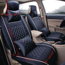 Size L PU Leather Auto Car Seat Cover Front & Rear W/Neck Lumbar Pillow 5-Seats