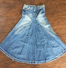 Industrial Cotton Juniors Stonewashed Blue Denim Jean Boho Skirt Maxi Long Sz 5