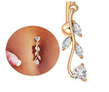 New Sexy Reverse Belly Ring Dangle Clear Navel Bar Barbell Body Jewelry Piercing