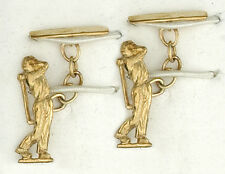9ct Yellow Gold Golfer Cufflinks Made To Order in Jewellery Quarter B'ham