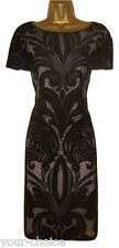 DEBENHAMS FAB BLACK NUDE LACE EVENING PARTY DRESS SIZE 16