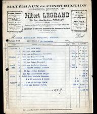 """AUBUSSON (23) MATERIAUX de CONSTRUCTION CHARBON ENGRAIS """"Gilbert LEGRAND"""" 1938"""