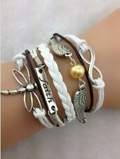 NEW Infinity Faith Dragonfly Wing Pearl Leather Charm Bracelet plated Silver  B2