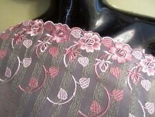 "8"" **DUSTY ROSE** Net Lace Embroidered Trim  (2 yd)  **SO PRETTY**"
