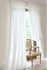 Shabby French Country Curtains Drapes 2 White Vintage Smocked Panels Chic New