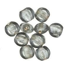 Grey Coloured Silver Lined Transparent Disc Glass Beads 10mm Pack of 10 (C22/4)
