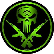 "1337 ProSticker (One) 4"" Zombie Guns Decal Sticker Sniper Skull Bio Hazard"