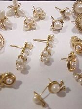32Pc lot 14k gold PEARL Earrings,PINS,,PENDANTS.W/diamonds.LARGE LOT ESTATE FIND