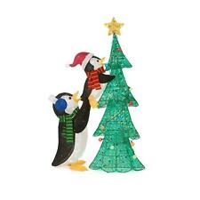 "62"" Lighted Pre Lit Christmas Tree Penguin Sculpture Display Outdoor Yard Decor"
