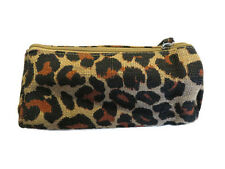 New Lalu Lalu Womens Ladies Girls Leopard Print Jute Zipper Cosmetic Purse Bag