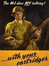 ART PRINT POSTER PROPAGANDA WWII WAR SOLDIER GUN BULLET CARTRIDGE USA NOFL1018