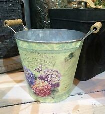 Shabby Floral Metal Planter Pot Country Vintage Flower Bucket Wedding Decoration