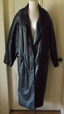 Womens BB Dakota Leather Maxi Motorcycle Biker Duster Long Trench Coat L Korea