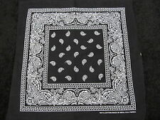 Paisley Bandana Double Sided Black Color Size 22 X 22 Inches 100% Cotton
