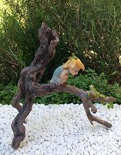 Miniature Figurine FAIRY GARDEN ~ Garden Sprite with Tree Frog on Branch ~ NEW