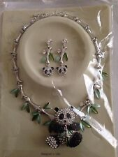 Panda & Bamboo Silver Tone Earrings & Necklace with Rhinestones -New in Package!