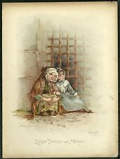 Book plate - Dickens characters - chromolithograph - 'Little Dorrit and Maggie'