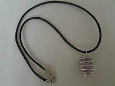 Amethyst Tumble Stone 25mm Spiral Cage Pendant on 18inch Leather Cord Necklace.
