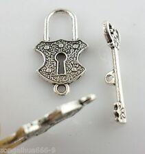 12pcs Antique Silver Lock/Key Clasps Interface Toggle Bracelet Connectors