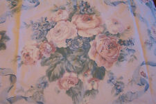 "CURTAIN VALANCE Springmaid PINK ROSES RIBBON BLUE LACE RUFFLE 19"" X 173"" COTTAGE"