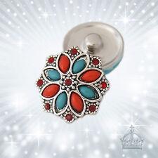 Blume rot Strass Click Button Druckknopf kompatibel mit  System CB050