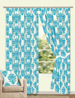 """66 X 90 VELVET DAMASK LINED CURTAINS PAIR TEAL & WHITE  66"""" WIDE X 90"""" DROP"""