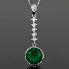 Xmas Stunning! Round Cut Green Emerald Pendant Necklace Chain Lady Fashion Jewel