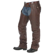 MEDIUM SIZE MENS BROWN LEATHER MOTORCYCLE CHAPS WITH STRETCHABLE THIGH